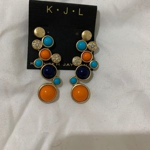 Kenneth Jay Lane multi stone drop earrings